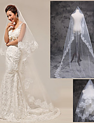cheap -One-tier Lace Applique Edge Wedding Veil Cathedral Veils With Lace Tulle