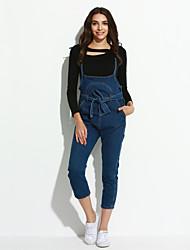 economico -Da donna A vita alta Casual Moda città Anelastico Jeans Tuta da lavoro Pantaloni,Tinta unita Cotone Estate
