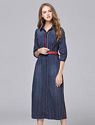 Tubino Vestito Da donna-Casual Semplice A strisce Colletto Medio Mezze maniche Blu Cotone Autunno / Inverno A vita medio-altaMedia