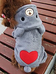 Cat Dog Costume Hoodie Dog Clothes Cotton Winter Spring/Fall Cute Cosplay Bear Gray Rose Costume For Pets