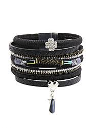 Women's Bracelet Leather Rhinestone Simulated Diamond Fashion Vintage Bohemia Personalized Handmade Black Gray Coffee Red Blue Jewelry 1pc