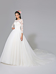 cheap -Ball Gown Illusion Neckline Cathedral Train Tulle Wedding Dress with Appliques Button by LAN TING BRIDE®