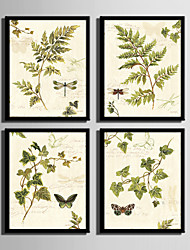 cheap -E-HOME® Framed Canvas Art Leaves And Dragonfly Framed Canvas Print Set Of 4