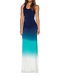 cheap -Women's Sophisticated Sheath Dress - Solid Colored Blue High Rise Maxi U Neck
