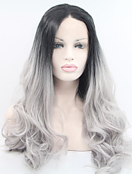 Women Synthetic Lace Front Wigs Top Quality Long Natural Wavy Black/Grey Ombre Heat Friendly Wig