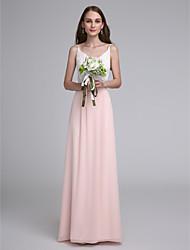 cheap -Sheath / Column Spaghetti Straps Floor Length Chiffon Bridesmaid Dress with Lace by LAN TING BRIDE®