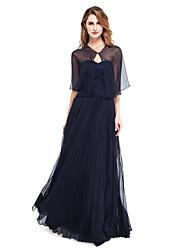 Linha A Decote Princesa Longo Chiffon Renda Vestido Para Mãe dos Noivos - Pregas de LAN TING BRIDE®