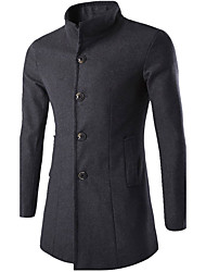 Men's Plus Size / Casual/Daily / Party/Cocktail Simple Trench CoatSolid Shirt Collar Long Sleeve Winter Trench Coat