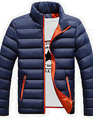 cheap -Men's Regular Padded Coat,Casual Daily Going out Holiday Solid-Polyester Polyester Long Sleeves