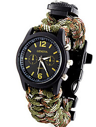 cheap -Men's Sport Watch / Military Watch / Bracelet Watch Cool / Lighter / Punk Fabric Band Vintage / Casual / Bangle Green / Colorful