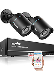 cheap -SANNCE® 1.0MP 720P 4CH HD 4 in1 TVI H.264 DVR In/Outdoor 2 PCS CCTV Security Camera System
