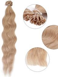 baratos -Queratina / Ponta U Extensões de cabelo humano Encaracolado Extensões de Cabelo Natural Cabelo Humano Mulheres - Loiro Loiro Platina Vinho