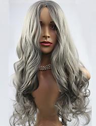 economico -lunghe parrucche animati ondulate moda parrucca grigia della donna capelli sintetici parrucca parrucche Partito popolare europeo