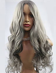abordables -pelucas largas onduladas animados de moda peluca gris de la mujer pelo sintético de la peluca pelucas partido europeo