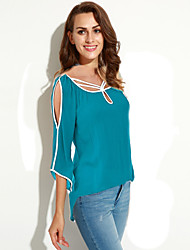 Women's Off The Shoulder Going out Street chic Summer Blouse,Solid Asymmetrical ¾ Sleeve Blue / Black Rayon Thin