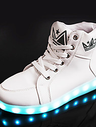 cheap -Unisex Sneakers Spring Fall Winter Comfort Crib Shoes Ankle Strap Light Up Shoes PU Casual Athletic Flat Heel Crystal Lace-up Black White