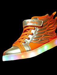 Girls' Athletic Shoes Comfort PU Winter Athletic Comfort Lace-up LED Flat Heel White Orange Black/Gold Blushing Pink Flat