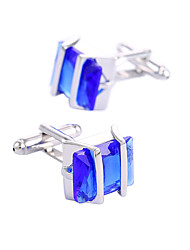 Gentleman Blue Crystal Cufflinks For Mens Luxury Classic Stainless Steel Men's Wedding Gift Cuff Links Jewelry