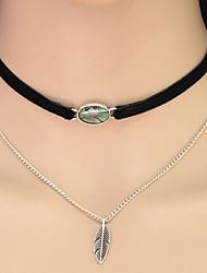 Women's Choker Necklaces Collar Necklace Tattoo Choker Leaf Shell Alloy Tattoo Style Friendship Fashion Double-layer European Costume