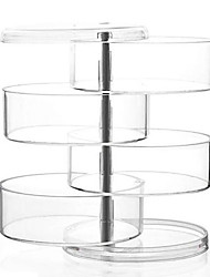 cheap -Acrylic Transparent 4 Layer Rotatable Cylinder Shaped Cosmetics Storage Box Cosmetic Organizer
