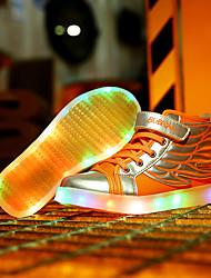 billige -Drenge Sko PU Vinter Komfort Sportssko Snøring / LED for Orange / Sort og Guld / Lys pink