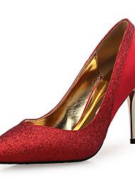 女性用 靴 シルク グリッター アイデア ヒール スティレットヒール ポインテッドトゥ スパンコール スパークリンググリッター コンビ のために 結婚式 パーティー ゴールド ブラック シルバー レッド