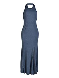 Feminino Tubinho Vestido, Festa/Coquetel Bandagem Sofisticado Sólido Decote Redondo Longo Sem Manga Cinza Poliéster Verão OutonoCintura
