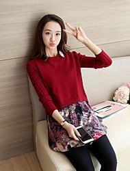 cheap -Women's Long Sleeves Long Pullover - Patchwork Shirt Collar