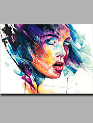 cheap -Hand-Painted Abstract / Abstract Portrait Oil Painting,Modern One Panel Canvas Oil Painting