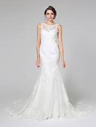 cheap -Mermaid / Trumpet Illusion Neckline Chapel Train Lace Tulle Wedding Dress with Appliques by LAN TING BRIDE®