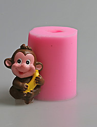 cheap -Lovely Monkey Banana Animal Fondant Cake Mold The Chinese Zodiac Salt Carving Mould Silicone Candle Mold
