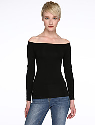 cheap -Women's Cotton Spandex T-shirt - Solid, Cut Out Boat Neck
