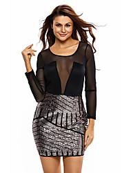 Women's Sequin Long Sleeves Mesh Shadow Sequin Bottom Dress