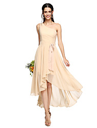 cheap -A-Line One Shoulder Asymmetrical Chiffon Bridesmaid Dress with Bow(s) Sash / Ribbon Pleats by LAN TING BRIDE®