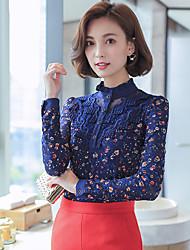 Sign 2016 Autumn new Korean Women Slim lace Female backing shirt plus thick velvet