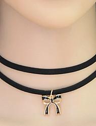 Недорогие -Жен. В форме банта Ожерелья-бархатки Воротничок Татуировка Choker  -  На заказ Тату-дизайн Мода В форме банта Черный Ожерелье Назначение