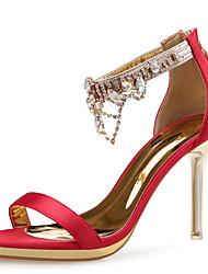 preiswerte -Damen Schuhe Glitzer Frühling Sommer Komfort Sandalen Stöckelabsatz Strass für Hochzeit Party & Festivität Weiß Schwarz Rot