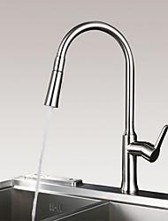 Contemporary Modern Pull-out/­Pull-down Centerset Pullout Spray Ceramic Valve Single Handle One Hole Nickel Brushed , Kitchen faucet
