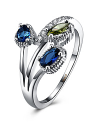 Bagues pour Première Phalange Bague Zircon cubique Zircon Cuivre Acier au titane Imitation de diamant Bleu Bijoux Quotidien Décontracté