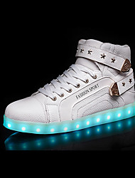 cheap -Men's Shoes PU Winter Fall Light Up Shoes Comfort Sneakers LED Lace-up for Casual White Black Red