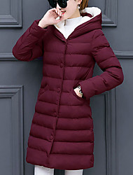 cheap -Women's Regular Padded Coat,Simple Going out Solid-Polyester Polyester Long Sleeve Hooded Red / Black / Gray / Green