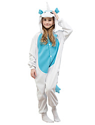 Kigurumi Pajamas Unicorn Leotard/Onesie Festival/Holiday Animal Sleepwear Halloween Blue Solid Polar Fleece For Kid Halloween Christmas