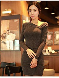 Women's Work Bodycon Dress,Solid Asymmetrical Mini Long Sleeve Gray Spring / Fall / Winter