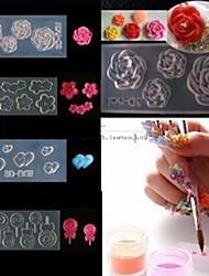 4-Stil Acryl Blumen 3d Nail Art Schimmel DIY Dekoration Mode