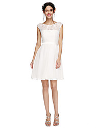 A-Line Jewel Neck Short / Mini Chiffon Lace Bridesmaid Dress with Sash / Ribbon by LAN TING BRIDE®