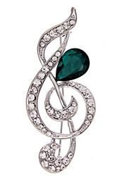 Feminino Broches Cristal Moda bijuterias Imitações de Diamante Nota Musical Jóias Para Diário