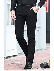 cheap -Men's Petite Mid Rise Micro-elastic Straight Business Pants,Casual Solid Cotton Winter Fall All Seasons