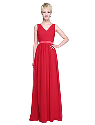 Sheath / Column V-neck Floor Length Chiffon Bridesmaid Dress with Sash / Ribbon Criss Cross by LAN TING BRIDE®