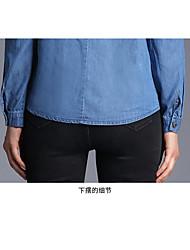 Spot real shot - New European leg lace shirt lapel single-breasted long-sleeved denim shirt