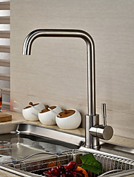 Contemporary Art Deco/Retro Modern Standard Spout Vessel Rotatable Ceramic Valve Single Handle One Hole Stainless Steel , Kitchen faucet